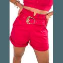 Shorts Mari de Alfaiataria Cintura Alta C/ Bolso Faca e Cinto De Fivela Rosa Pink