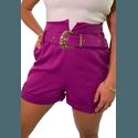 Shorts Mari de Alfaiataria Cintura Alta C/ Bolso Faca e Cinto De Fivela Roxo