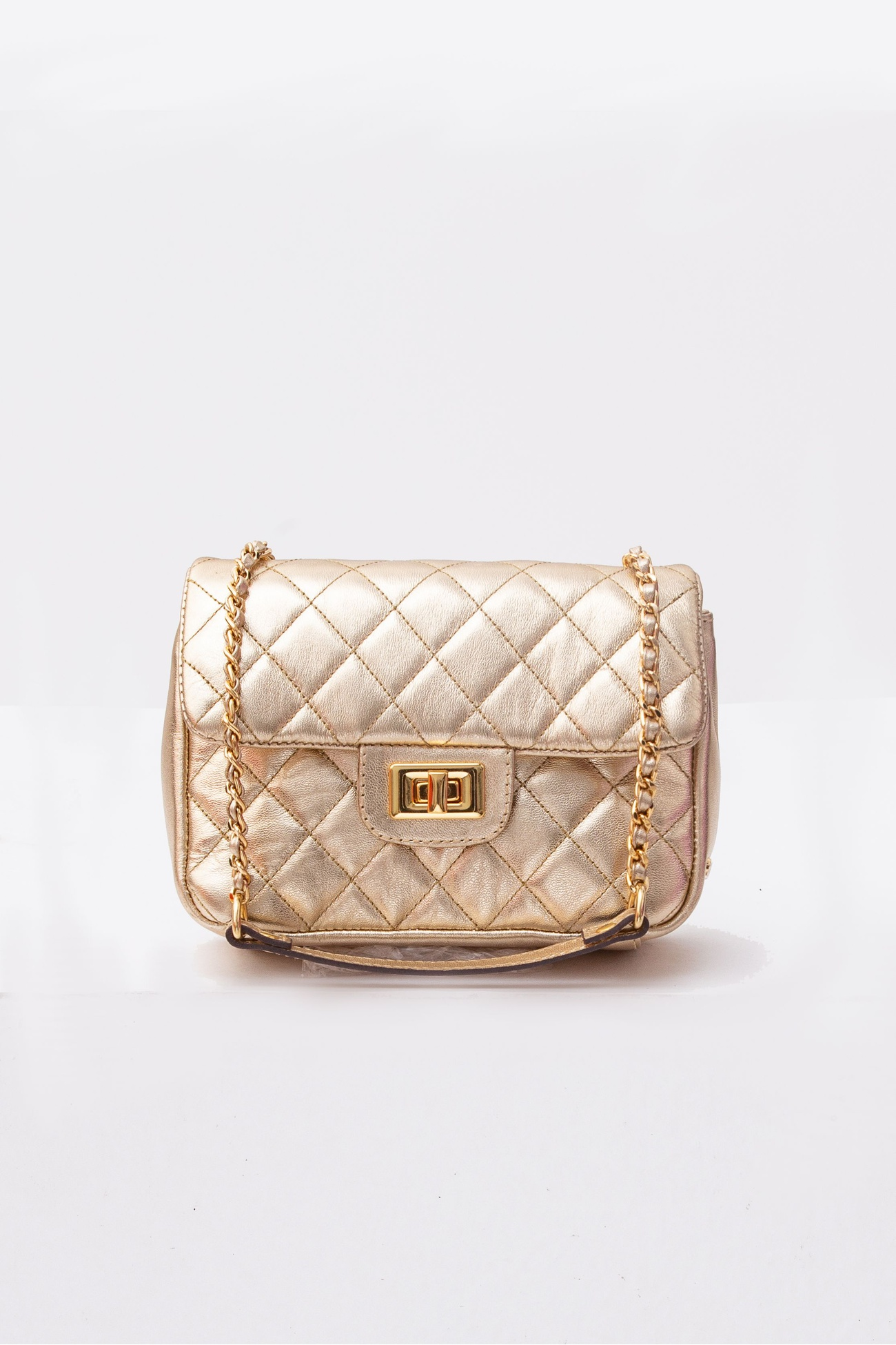Crossbody Metalizada Ouro Light- Metalassê Losango
