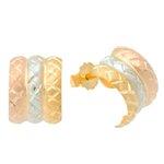 Brinco em Ouro 18K Meia Argola Tricolor de 10mm