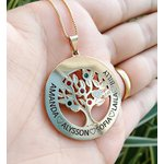 Gargantilha Mandala Banhada a Ouro Árvore da Vida Com Até 6 Nomes