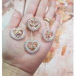 Mandala Zircônias Navete Com 1 ou 2 Filhos Banhada a Ouro