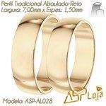 AL028-Par de Aliança de Casamento e Noivado Tradicional de Ouro 18K