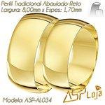 AL034-Alianças de Casamento Ouro 18K Tradicional Reta