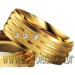 Aliança elegance de casamento ou noivado com faixas lisas e foscas ouro amarelo 18K 750 largura 10,0mm-ASP-AL-100