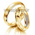 Aliança cravejada de diamantes ouro amarelo 18K liga 750 de casamento ou noivado largura 4,5mm-ASP-AL-16