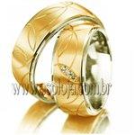 Aliança duo color Simbolic de casamento ou noivado com brilhante personalizado em ouro amarelo 18K 750 largura 5,5mm-ASP-AL-30