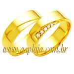 Aliança cravejada de diamantes ouro amarelo 18K 750 anatômica largura 6,0mm-ASP-AL63