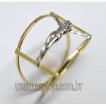 AN-4155-Anel de Ouro 18K Filegrama Com Cristo em Ouro Branco