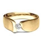 AN-4185-Anel de Ouro 18K Solitário Diamante de 3,0 mm Fosco