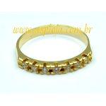 Anel Meia Aliança Em Ouro 18K Com 7 Diamante de 2,0 mm