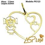 Pingente de Ouro 18K Coração Com Uma Filha-PG123