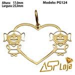 Pingente de Ouro 18K Coração Com Filhas-PG124