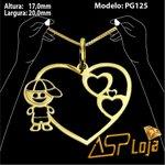 Pingente de Ouro 18K Coração com Filho Personalizado-PG125
