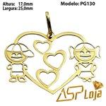 Pingente de Ouro 18K Coração Casal de Filhos-PG130