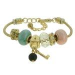 Pulseira Beloque Cristal Lesprit K03882-49840 Dourado Rosa e Verde