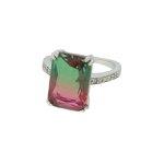 Anel Zirconia Lesprit U18A030101 Ródio Rainbow Rubi e Verde