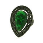 Anel Zircônia Lesprit LA05401BOEMBK Ródio Negro Verde Esmeralda