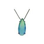 Colar Zirconia Lesprit U18A040371 Ródio Negro Rainbow Verde E Azul
