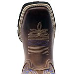 Bota Texana Masculina em Couro Legítimo Bordado Índio Azul Bico Quadrado