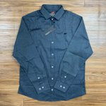 Camisa Social Dgraud - Manga Longa Cinza Escura