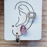 Kit De Brincos e Piercing Fake Gota Prata Rosa