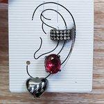 Kit De Brincos e Piercing Fake Oval Grafite Vermelho