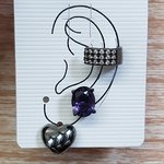 Kit De Brincos e Piercing Fake Oval Grafite Lilás