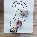 Kit De Brincos e Piercing Fake Oval Prata Rosa
