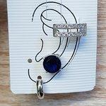 Kit De Brincos e Piercing Fake Círculo Prata Azul Marinho