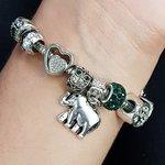 Pulseira Pandora Elefante Prata Verde