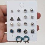 Kit De Brincos Pequenos Prata Velha Azul