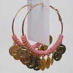 Argola Grande Medalhas Dourada Rosa