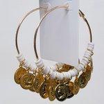 Argola Grande Medalhas Dourada Branco