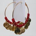 Argola Grande Medalhas Dourada Vermelho