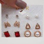 Kit De Brincos Pequenos Dourado Vermelho