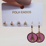 Kit De Brincos Pequenos Nossa Senhora Aparecida Dourado Rosa