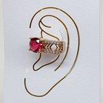 Piercing Fake Zircônia Dourado Vermelho