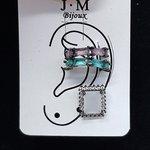 Kit De Brinco e Piercings Fakes Zircônia Retângulo Grafite Verde e Lilás