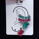 Kit De Brinco e Piercings Fakes Zircônia Retângulo Grafite Verde e Vermelho