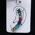 Brinco Ear Cuff Médio Zircônia Grafite Colorido