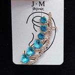 Brinco Ear Cuff Médio Zircônia Dourado Azul
