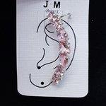 Brinco Ear Cuff Médio Zircônia Prata Rosa