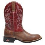 Bota Texana Country ESCRETE Bico Redondo Vermelha -1824