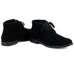 Botina Luxury Desert boots estilo Chelsea Casual com Cadarço toda Preta 503