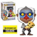 The Lion King: Rafiki with Baby Simba Flocked Pop! Vinyl Figure #301 - Entertainment Earth Exclusive