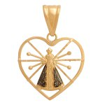 Pingente em Ouro 18K Coração com Nossa Senhora da Aparecida de 22mm