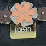Bolsa Artesanal Oval Flores Preta 100% Couro J.Gean