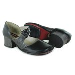 Sapato Em Couro New kelly Preto J.Gean