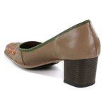 SAPATO EM COURO TAUPE J.GEAN AMOSTRA ST0159-09